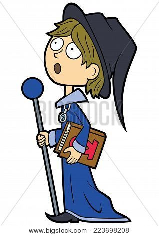 Illustration cartoon wizard boy with a magic staff and a book