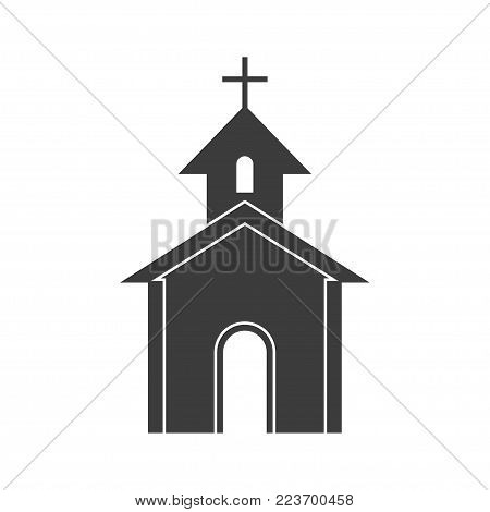 Church icon house icon. Flat black vector illustration on white background.
