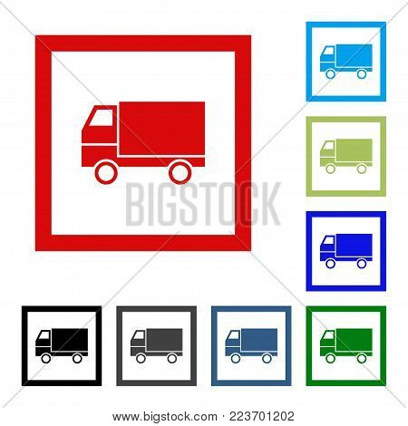 Delivery Flat Vector Icon. Lorry Web Icon