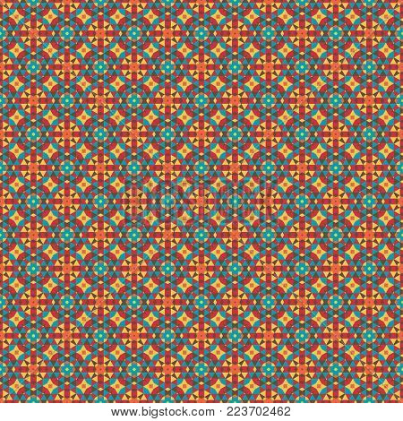Mosaic geometric pattern in repeat. Fabric print. Seamless background, mosaic ornament, ethnic style. Design for prints on fabrics, textile, covers, paper, wallpaper, interior, patchwork, wrapping.