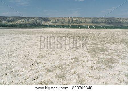 Soil with cracks in mountainous area of Crimea, Ukraine, May 2013