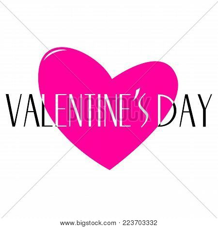 View to a beautiful illustrated Valentines Day Graphic with black Text and a Pink Heart. Happy Valentine's Day Background as an Illustration.