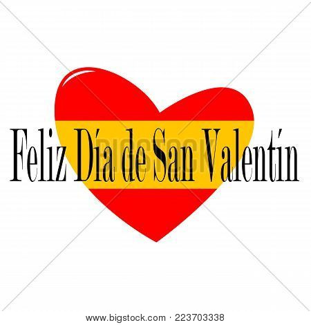 View to a beautiful illustrated Valentines Day Graphic with black spanish Text (Feliz Día de San Valentín ) and a Red Heart. Happy Valentine's Day Background as an Illustration.
