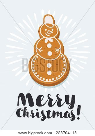 Vector cartoon illustration of Gingerbread snowman shape on white background with congratulation. Isolated white background. Hand drawn lettering Merry Christmas.