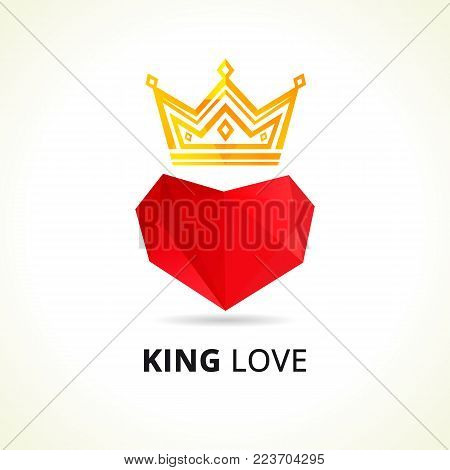 King love elegant emblem. Vector of luxury facet red heart and golden crown. Dad my king illustration. Valentines day card