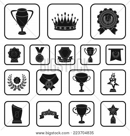 Awards and trophies black icons in set collection for design.Reward and achievement vector symbol stock  illustration.