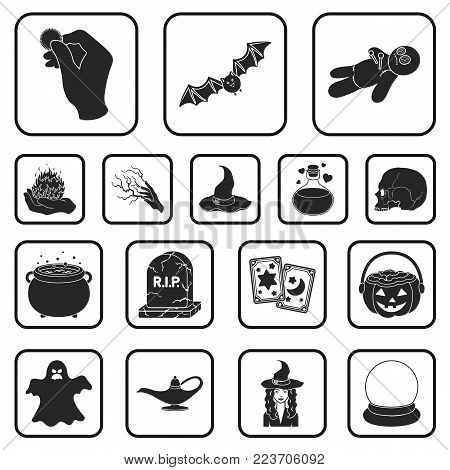 Black and white magic black icons in set collection for design. Attributes and sorceress accessories vector symbol stock  illustration.