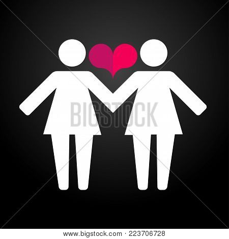 Pictograms of lesbian women holding hands on a background and hearts. Vector illustration in a modern flat style, for registration of polygraphy, sites.