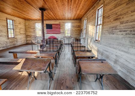 DOTHAN, ALABAMA - JANUARY 17, 2015 :  Interior of the historic one-room School in the Dothan's Landmark Park. HDR processed.