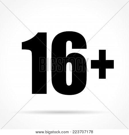 Illustration of sixteen icon on white background