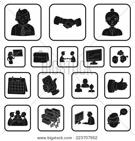 Business Conference And Negotiations black icons in set collection for design.Business and training vector symbol stock  illustration.