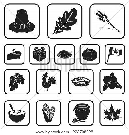 Canada Thanksgiving Day black icons in set collection for design. Canada and Tradition vector symbol stock  illustration.
