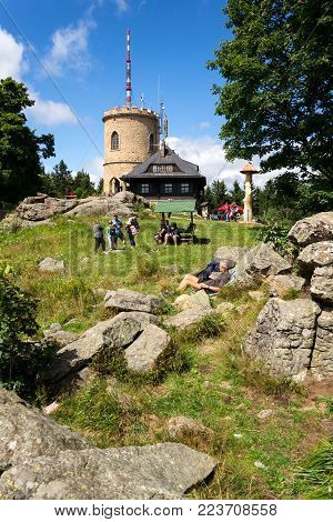 Kajov, Czech Republic - August 12: People On The Oldest Czech Stone Lookout Tower - Josefs Lookout T