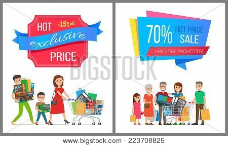 Hot price exclusive sale premium promotion card, vector illustration with colorful advertising text, two cheerful families, wheelbarrows, purchases