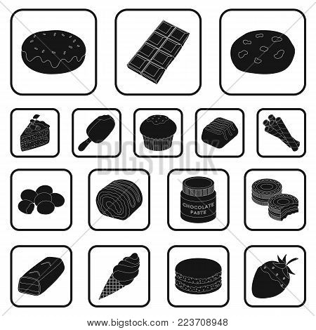 Chocolate Dessert black icons in set collection for design. Chocolate and Sweets vector symbol stock  illustration.