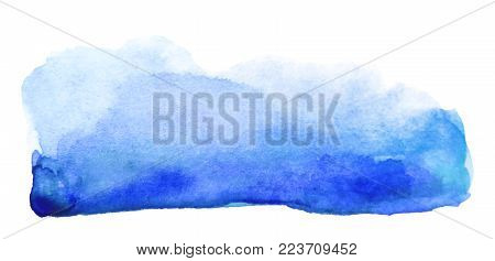 Watercolor artistic blue brush stroke isolated on white background. Abstract watercolor background for design.