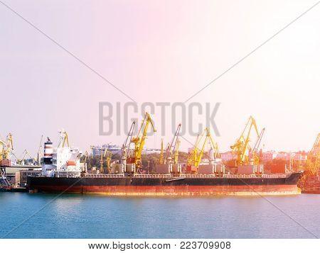 Bulk carrier ship in the port on loading. Bulk cargo ship under port crane bridge. Panorama of the port cranes ships.