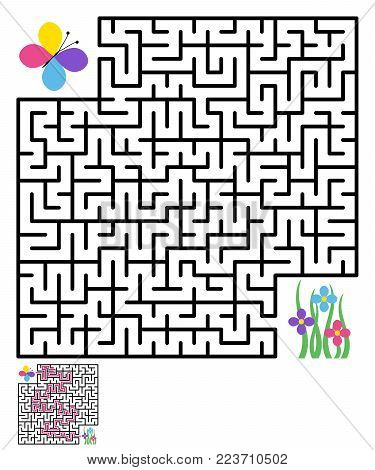 Labyrinth, maze conundrum for kids. Entry and exit. Children puzzle game. Help the butterfly reach the flowers. Vector illustration