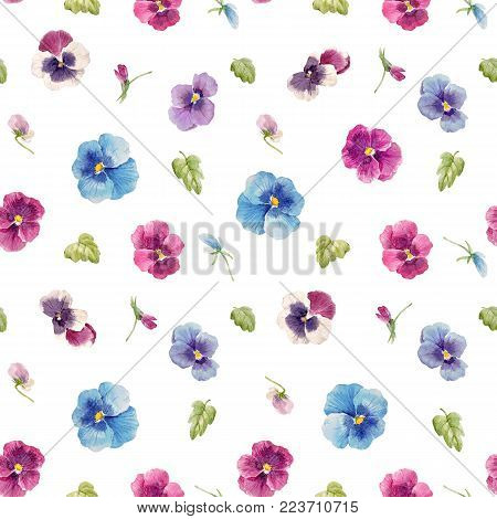 Seamless pattern with watercolor pansy flowers and leaves
