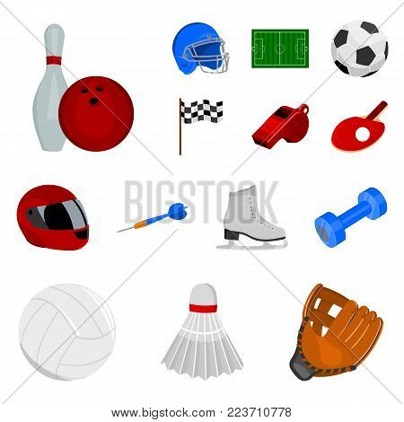 Different kinds of sports cartoon icons in set collection for design. Sport equipment vector symbol stock  illustration.