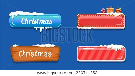 Christmas big sale glossy empty web push button covered by snow, decorated by presents gift boxes on top vector online shopping signs isolated on blue