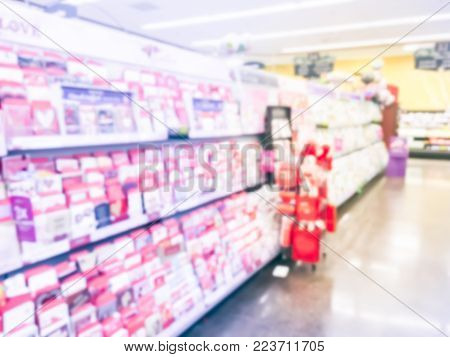 Blurred Valentine Cards And Balloons At Retail Store In America
