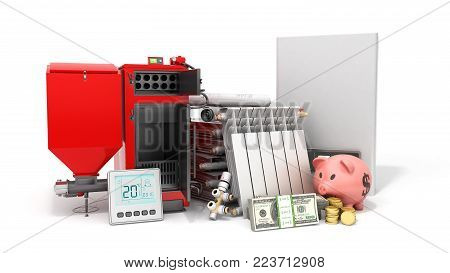 modern concept heating saving solid fuel boiler battery electric boiler and thermostat 3d render on a white background