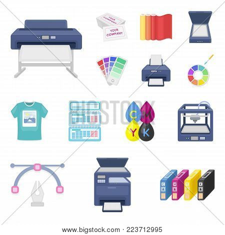 Typographical products cartoon icons in set collection for design. Printing and equipment vector symbol stock  illustration.