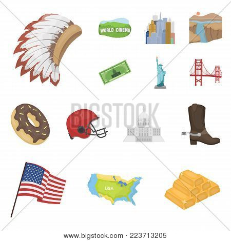USA country cartoon icons in set collection for design.Travel and attractions vector symbol stock  illustration.