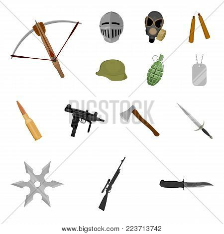 Types of weapons cartoon icons in set collection for design.Firearms and bladed weapons vector symbol stock  illustration.
