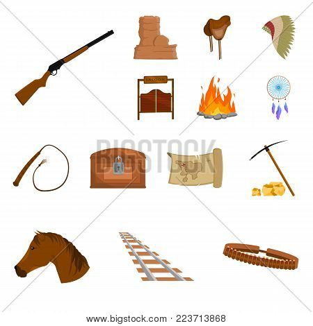 Attributes of the wild west cartoon icons in set collection for design.Texas and America vector symbol stock  illustration.
