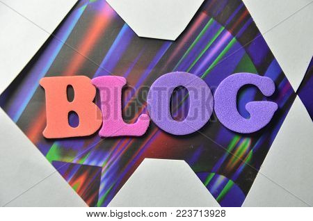 word blog on an   abstract colored background