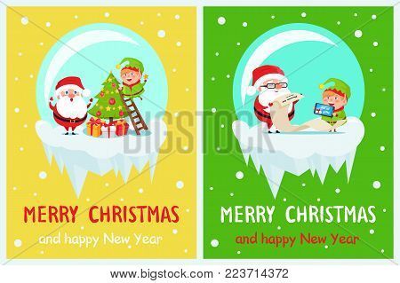 Merry Christmas and Happy New Year, Santa and Elf preparing for celebrating by decorating Christmas tree and reading list of gifts, vector illustration