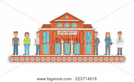 Higher education concept vector illustration, flat linear style design. Young people entering university graduate from it and get a good job. University conveyor belt concept.