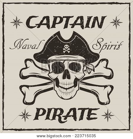 Pirate captain skull and crossed swords vector sketch grunge illustration. Human skull wearing pirate hat and eyepatch. Vintage logo, tattoo template design.