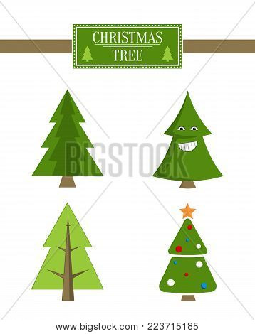 Xmas tree advert sale board, collection of spruce icons with and without decorative elements, smiling emoji vector poster isolated, pine market sign