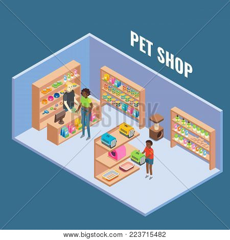 Pet shop cutaway interior, vector flat isometric illustration. Pet store with furniture and pet supplies, salesman and buyers.