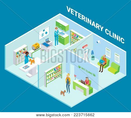 Veterinary clinic cutaway interior, vector flat isometric illustration. Vet clinic with furniture, veterinary equipment and supplies, veterinarians and clients with their pets.