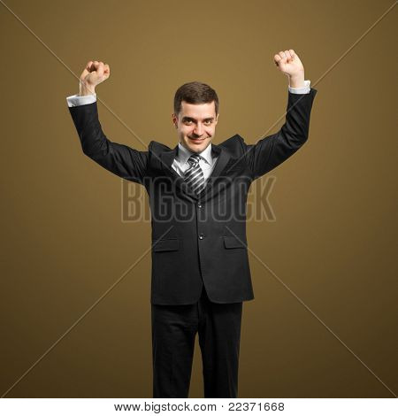 happy businessman with hands up, celebrating his victory poster