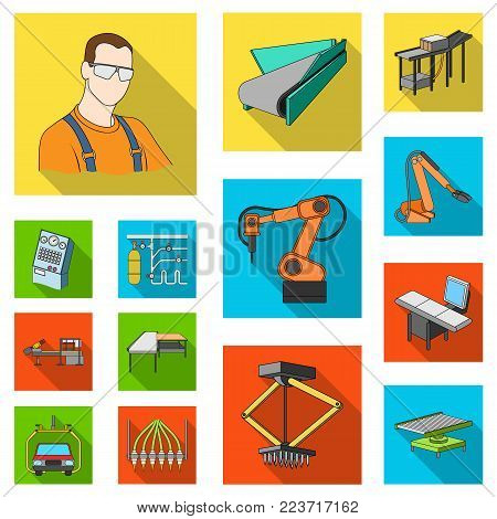 Equipment and machine flat icons in set collection for design. Technical progress of the factory vector symbol stock illustration.