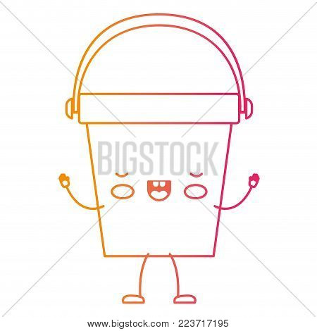 kawaii cartoon bucket with handle in degraded yellow to magenta silhouette vector illustration