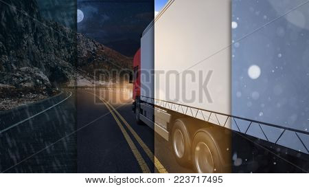 Truck from Spedition rides a delivery day and night and in any weather (3D Rendering)