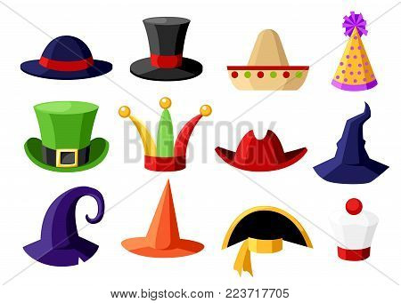 Fun carnival festive collection of cute celebration and disguise hat vector illustration isolated on white background website page and mobile app design.