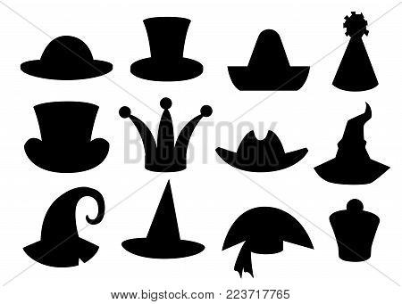 Fun carnival festive collection of cute celebration and disguise hat black silhouette vector illustration isolated on white background website page and mobile app design.
