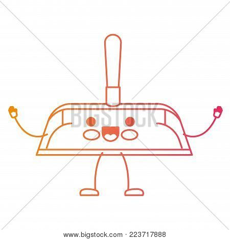 kawaii cartoon hand dustpan with wooden stick in degraded yellow to magenta silhouette vector illustration