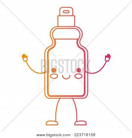 kawaii cartoon detergent bottle in degraded yellow to magenta silhouette vector illustration