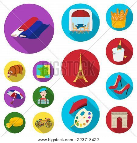 Country France flat icons in set collection for design. France and landmark vector symbol stock  illustration.