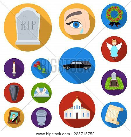 Funeral ceremony flat icons in set collection for design. Funerals and Attributes vector symbol stock  illustration.