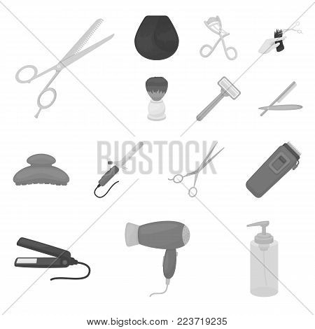Hairdresser and tools monochrome icons in set collection for design.Profession hairdresser vector symbol stock  illustration.