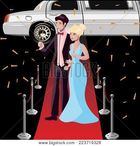 Couple celebrities on the red carpet. Vector illustration